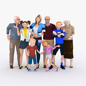 3D LowPoly Family Characters Rigged Bundle