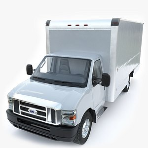 3D FORD E350 Cargo Box Truck model