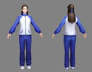 3D school girl model
