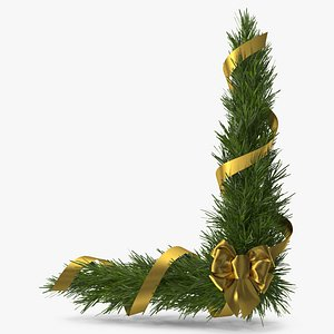 Christmas Corner Decoration with Gold Bow and Ribbon 2 3D