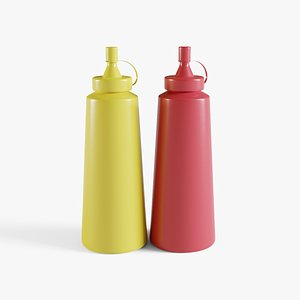 Ketchup And Mustard Bottles 3D