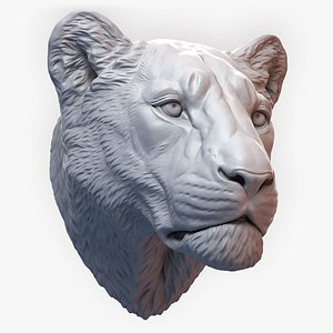 3D Lioness Sculpture Animal Head