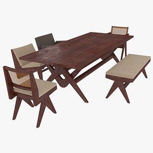 3D cassina table mahogany model