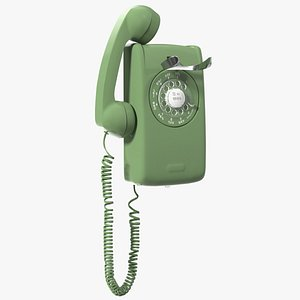 3D model Vintage Landline Rotary Wall Phone Green