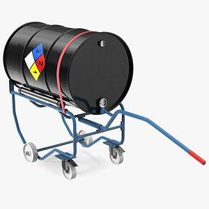 Drum Cradle with NFPA 704 Drum 3D model