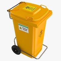 Yellow Clinical Waste Wheelie bin