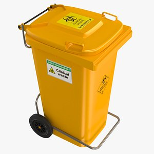 yellow clinical waste wheelie bin 3D