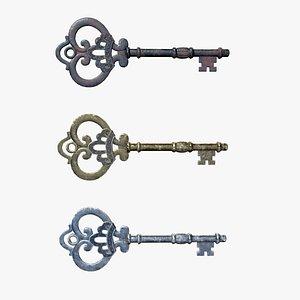 3D Medieval Skeleton Key 3 model