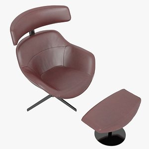 3D Cassina 277-12 Auckland Arm Chair and 277-42 Auckland Ottoman Red Leather Black Body