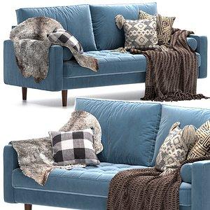 Gertrudes 72 Square Arm Sofa 3D model