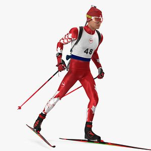 Biathlete Fully Equipped Canada Team Running Pose 3D model