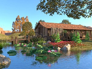 Lotus pond  and cottage 3D