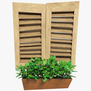 stylized shutters window 3D model