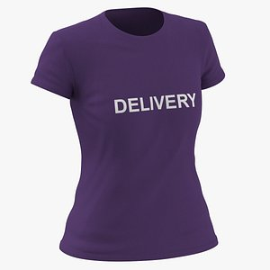 Female Crew Neck Worn Purple Delivery 01 3D model
