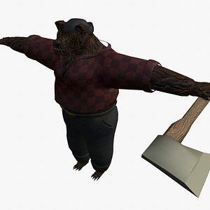 3D bear lumberjack model