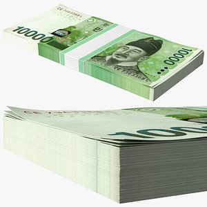 3D Korea Republic Won KRW 10000 Banknotes Bundle model
