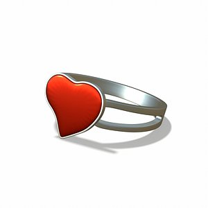 3D model Ring with a heart