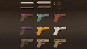 weapon muffler bullets 3D model
