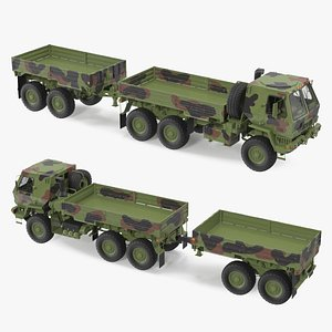 3D Oshkosh FMTV Camouflage Cargo Truck 6x6 with Drop Side Trailer M1092 Camouflage