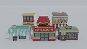 3D cartoon shops model