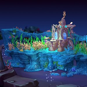 Cartoon Underwater Scene 3D