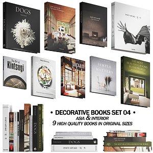 3D 037 Decorative books set 04 Asia and Interior model