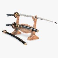 Realistic Katana and Wakizashi set - Traditional Japanese sword with a stand1