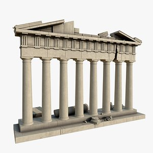 3D doric temple face model