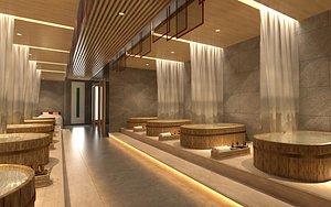 3D Bath tub bath center bath house bath place take a bath