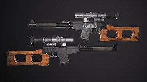 Russian USSR sniper rifle VSS Vintorez Low-poly 3D model model