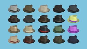 20 Trilby Hat Collection - Character Design Fashion 3D model