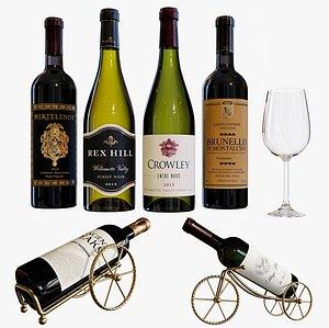 wine bottle set 18 3D model