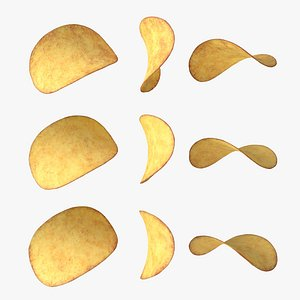 crunchy potato chips with 2K PBR textures model