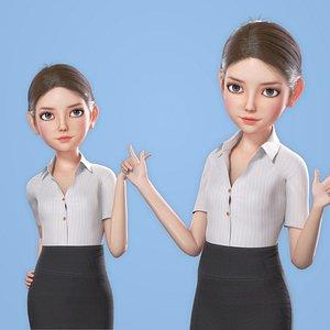 3D Business Woman Cartoon Girl Rigged