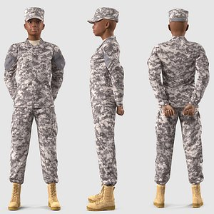 3D model Black Female Soldier ACU Rigged for Maya