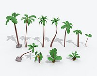 Cartoon Palm Tree Collection Pack Low-poly