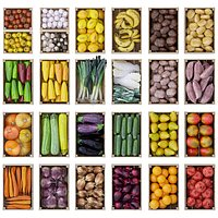Big pack of vegetables and fruits in wooden boxes