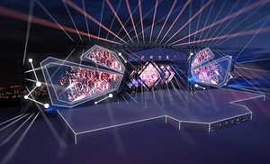 1Stage Concert Stage Design Large-scale stage choreographer for the New Year TV Music Festival and t 3D model