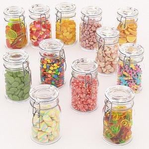 set 12 candy 3D