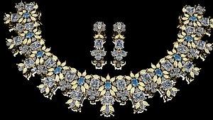 Diamond Satting Beautiful Neckless-Earring 3D
