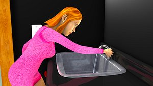3D Wash basin and female rigged character