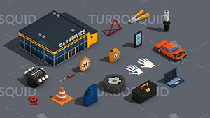 Low Poly Car Service Engine Repair Isometric model