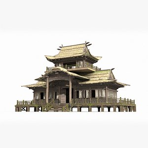 3D large thatched palace