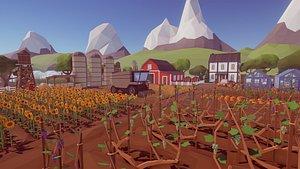 pack farm nature plants 3D model