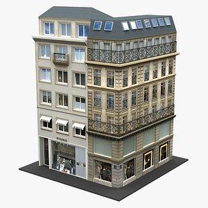 Typical Parisian Corner Building 03 3D model