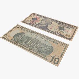 3D Money Ten Dollar With Pbr 4K 8K model