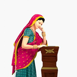 3D woman indian clothing