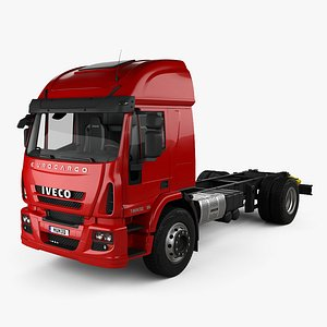 3D Iveco EuroCargo Chassis Truck 2-axle with HQ interior 2013 model