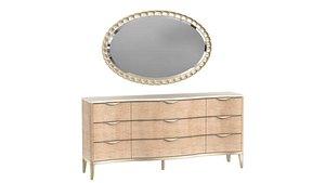 Michael Amini AICO MALIBU CREST Storage Console Dresser Sideboard Credenza and Oval Wall Mirror 3D model