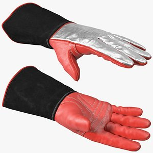 3D Heat Resistant Welding Gloves Rigged